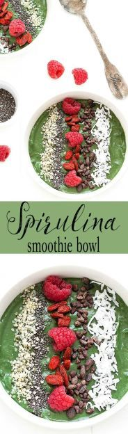 This green spirulina smoothie bowl is a simple smoothie transformed into a nutritious breakfast or snack.
