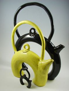 Tea Pot  Shiny Black Donut Teapot and Son / Wheel by PatsPottery