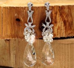 Crystal Drop Wedding Earrings - Vintage Crystal and Pearl Bridal Wedding Earrings - Swarovski Crystals and Pearls, Something Old Wedding. $84.00 USD, via Etsy.  LizardiBridal