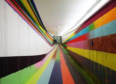 Visitors Tunnel at the JVA/Prison in Düsseldorf by Markus Linnenbrink prisons painting murals interior design