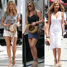 Most recently, Jennifer Aniston rocked her Stuart Weitzman crochet Alex wedges with a blue striped bandage skirt and a black tank. Jennifer Aniston Photos, Jennifer Aniston Style, Jeniffer Aniston, Beauté Blonde, Bandage Skirt, Jenifer, Love Her Style, I Love Fashion, Casual Looks