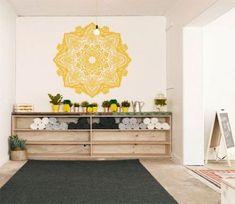Decal: Large Bohemian Flower Mandala Decal for Living Room, Dorm, Yoga, Studio, Home or Bedroom Home Yoga Room, Yoga Studio Home, Gym Room At Home, Pilates Studio, Yoga At Home, Yoga Rooms, Yoga Spaces, Studio Workouts, Studio Studio