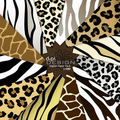 Digital Background - Animal Prints - Zebra Leopard Tiger Giraffe - Digital Paper…