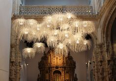 "Arturo Alvarez has created a lighting installation using the TINA collection at the chapel of the ""Hostal dos Reis Católicos"" in Santiago de Compostela, Spain."