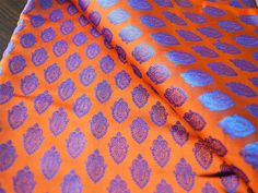 Pure Silk Fabric Yardage - Silk Brocade Fabric - Burnt Orange and Blue in leave pattern Weaving, Wedding Dress Fabric