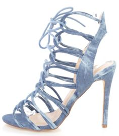 Features include a denim in a strappy design, open toe, wrap around ankle strap, smooth lining, and cushioned footbed. Approximately 5 inch heels.SIZING: True fit for MOST