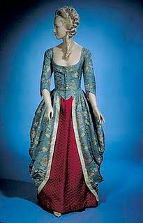 18th c. gown recycled as a 19th c. ballgown - beautiful cut and fabric