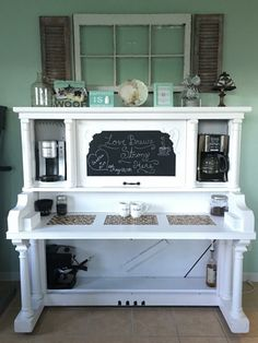 The coffee bar my husband and I made out of a piano from the 1800's ❤️☕️