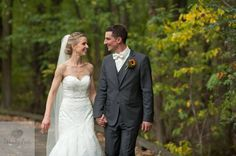 Bride and Groom Walking During Outdoor Fall Wedding / Wendy Zook Photography   www.wendyzook.com  #wendyzookphotography #buffalowedding #brideandgroom #marylandweddingphotography #marylandweddingphotographer #bride #groom #weddingphotos
