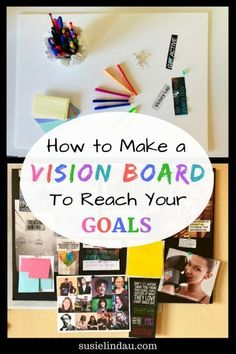 How to create a vision board to reach your goals! This easy DIY can help you motivate, face challenges, stay positive, and focused. Manifest your dreams! Creative Writing, Writing Tips, Pinterest Vision Board, Goal Board, Web 2.0, Diy Cans, Creating A Vision Board, Creative Visualization, Day Planners