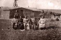 The Moses Speese family in front of their sod house in Custer County, Nebraska circa 1888.