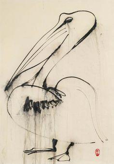 Brett Whiteley (Australian, Pelican Dripping Water, Ink on rice paper, 78 x 54 cm. Contemporary Australian Artists, Pelican Art, Greyhound Art, Flora, Art Diary, Artist Gallery, Painting & Drawing, Watercolour Paintings, Ink Art