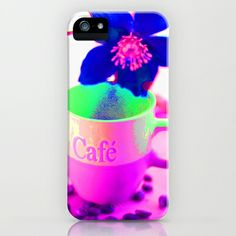Cup of Coffee Neon World iPhone & iPod Case by Tanja Riedel - $35.00