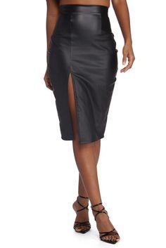 d7f458868fb3 FINAL SALE- High Slit Faux Leather Pencil Skirt