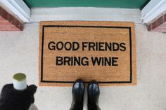 "Make your guests laugh before they even step foot into your home with this funny doormat. Made by Clever Doormats, the ""Good Friends Bring Wine"" is a fully functioning doormat and a funny way to delight your guests. This doormat is 20 inches tall and 30 inches wide. It is made from coir and is tough against dirty shoes.Traditional Coir DoormatDeep Ink Imprint That Will Not ErodeGreat Housewarming Gift20x30 InchesPVC Backing to Avoid SlidingShips covered in a vinyl bag to ensure safe..."
