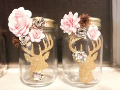Paper Flower Jars , paper flowers dyi ,  mason jars, flower makeup brushes holders , #thecraftchicky cricut , centerpiece  , craft ideas, dyi,  bridal shower, baby shower, home decor, cricut craft ideas, cricut flowers , nursery, woodland , floral ,forest ,stag ,deer
