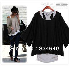Fashion Women's Leisure Loose Bat ShortThree Quarter Sleeve Vest + T-Shirt 2Pcs Set 3 colors Free Shipping 5127 $10.46