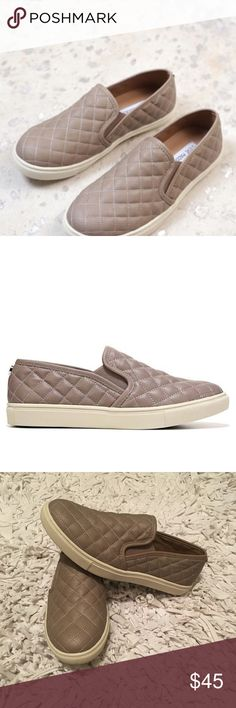"""STEVE MADDEN """"Ecentrcq"""" Slip On Sneaker Great condition! Gently worn once! Taupe color with cream soles! Tag says size 8 but they run a tad small so I'm listing them as a 7.5! Lush diamond quilting puts a fresh twist on the skater-inspired profile of a sporty slip-on.  Stay a step ahead in Steve Madden's trend-leading styles and easy-to-wear silhouettes. Synthetic upper/leather and synthetic lining/synthetic sole. Steve Madden Shoes Sneakers"""