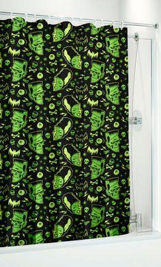 Retro Monster Mash Zombies Eyeballs Shower Curtain Retro Punk Goth Rockabilly | eBay