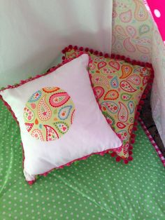 Pom pom or Ric rac trimmed cushion cover. by NestNFeather on Etsy Kids Rooms, Nest, Feather, Cushions, Throw Pillows, Cover, Nest Box, Childs Bedroom, Cushion