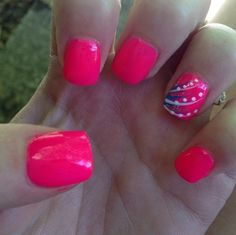Pink nails with a design