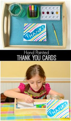 Beautiful Hand Painted Thank You Cards Kids Can Make - great to foster gratitude and keep the kids happily entertained. Love it!!!