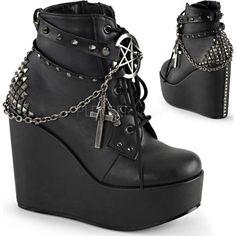 Demonia Shoes - POISON-101 Black Vegan Leather