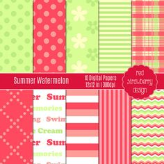 30% OFF SALE - Summer Watermelon - 10 Digital Papers  - Instant Download - JPG 12x12 (DP108)