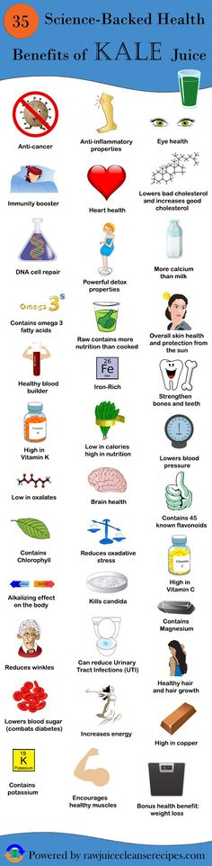 35 Science-Backed Health Benefits of Kale Juice {Infographic} The article contains more thorough info on each of these health benefits and provides sources for all of the information. Drink some kale juice today!