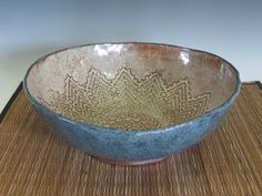 Large Textured Slab Bowl in Teal and Tan by MudPieArtsPottery