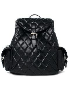 #Udobuy Black Quilt Backpack Bag With Punchout Detail