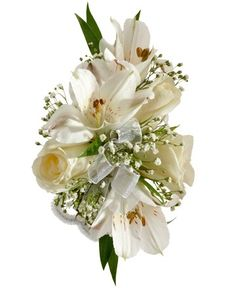 ROSE AND ALSTROEMERIA CORSAGE - A corsage with three white sweetheart roses, three white alstroemeria, and babies breath. Designed as a wrist corsage, but can be converted to a pin on corsage with included pins. Item #4402.