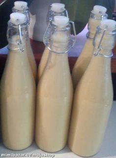 VAJEČNÝ LIKÉR Glass Of Milk, Water Bottle, Drinks, Drinking, Beverages, Water Bottles, Drink, Beverage