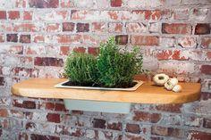 Pflanzregal Nr7 Eiche Massivholz 75 cm  Wandregal Regal Blumenregal mit Einsatz aus Porzellan #heimgruen