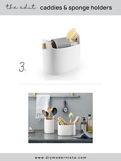 As I detailed in the soap dispenser post, I usually like to let cleaning objects fade into the background. This is the exception to the rule because is such a beautiful little object. This is definitely not a cost-effective, or the most practical solution, but it's oh-so-pretty!  #kitchenorganization #kitchensinkcaddy #modernkitchen #kitchensinkorganizer