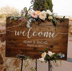 Wedding Decorations Wedding Welcome Sign - Rustic Wood Wedding Sign - Sophia Collection - Wedding Decor Directional Signs Image source Wooden Welcome Signs, Wedding Welcome Signs, Fall Wedding, Dream Wedding, Magical Wedding, Wedding Tips, Elegant Wedding, Wedding Hacks, Chic Wedding