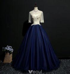 Elegant Navy Blue Prom Dresses 2018 Ball Gown Lace Appliques Scoop Neck Backless 1/2 Sleeves Floor-Length / Long Formal Dresses Aradel (Frost Burn)