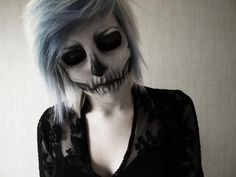 Emo/scene hair; skull makeup. I totally would love this for Halloween!