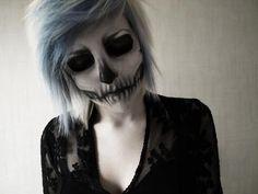 Emo/scene hair; skull makeup