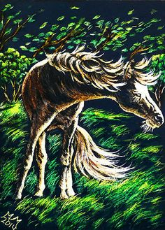 Original Horse ACEO Scratchboard Art - WINDY PONY - Tree Animal Stormy Landscape #Realism by Monique Morin Matson