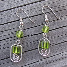 I love green so lots of my jewelry ends up that color.  This is a design I made up while messing around with twisting wire.
