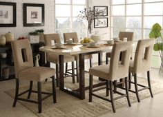 Inspiration Upscale Glossy Cream Granite Rectangular Bevel Corner Counter Height Dining Table Ideas With Dark Cherry Finish H Layout Base Frames Legs And Presenting Six Modern Beige Dining Chairs By Holes Backrest, Affordable Counter Height Dining Table Sets Ideas: Dining Room, Furniture