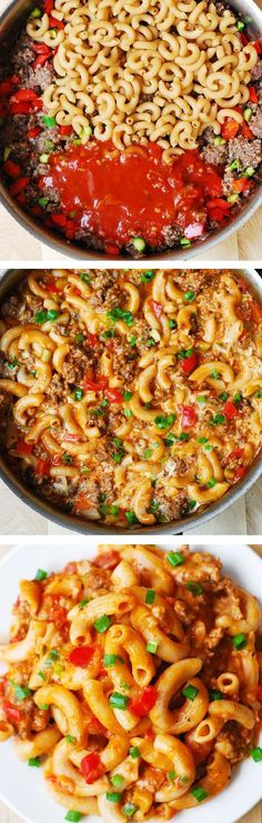 One-Skillet Mac and Cheese with Sausage and Bell Peppers, smothered in marinara sauce and cream. Everything is cooked in one skillet: sausage, bell peppers, and even pasta!