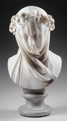 The Veiled Lady, marble sculpture by Raffaelo Monti, circa 1860.  The marble is carved so ingeniously and thinly as to appear transparent. #EuropeanAntiques #Sculptures