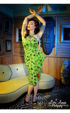 Deadly Dames - Voodoo Vixen Dress in Monster Print | Pinup Girl Clothing