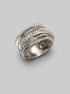 David Yurman Rings | David Yurman Diamond, 14k White Gold & Sterling Silver Crossover Ring ...