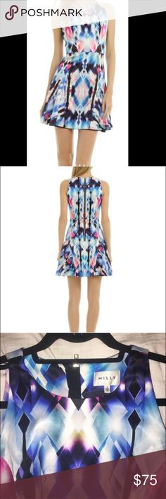 Milly Hologram Mini Dress size 2 Kaleidoscope style dress from Milly. Printed stretch crepe (50% viscose 46% cotton 4% Lycra). Sleeveless. Crew neck. Full skirt. Exposed back zip. Dress is super high quality, has mini snaps under the shoulders to hold your bra strap in place. Wore this dress one time to an engagement party. I got tons of complements! Since then it's been kept in a garment bag. Dress has no flaws. I saw it's  available to rent on RTR for $75. Or you can purchase from me for…