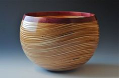 John Beaver Pacific Palisades, CA Wavy Plywood Bowl Baltic Birch Plywood and Purpleheart