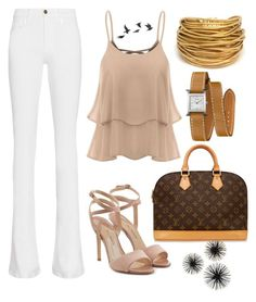 beige attack by sixfireab on Polyvore featuring polyvore fashion style Frame Paul Andrew Louis Vuitton Black & Sigi Hermès Jayson Home clothing