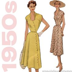 1950s Scalloped Dress Vintage Sewing Pattern - McCall's 8785 – WeSewRetro